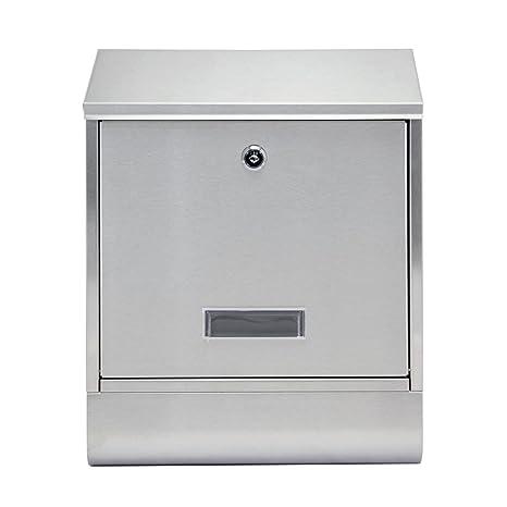 MCTECH Buzón cepillado acero inoxidable Post Buzón con compartimento para periódicos Al aire libre Periódico pared Buzón Anlage Letter Box (A type)