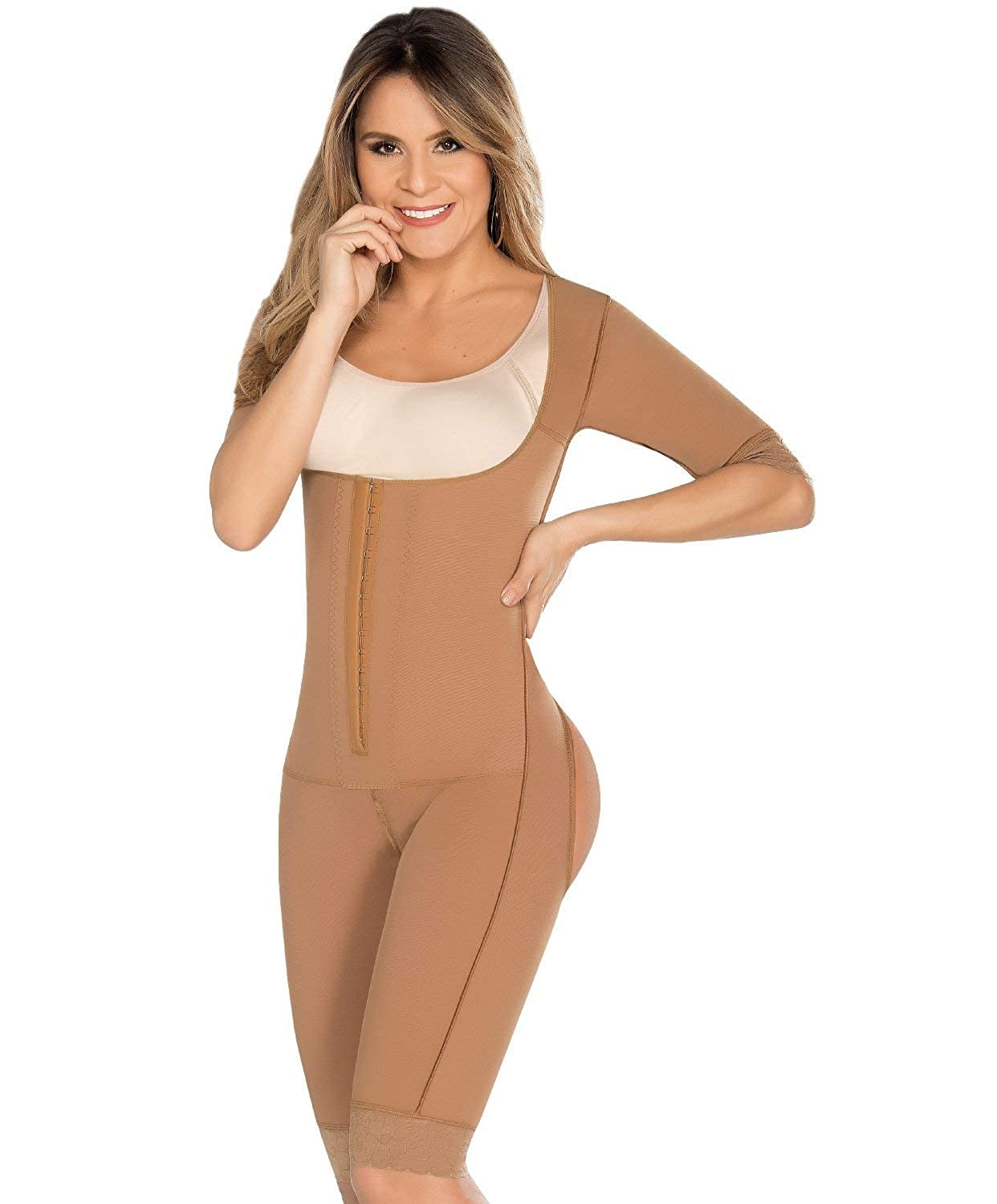 cea05411ac577 Equilibrium - Post Op Compression Garment - Buttocks Enhancer - One Piece  with Sleeves - Open Bust - C9016 at Amazon Women s Clothing store