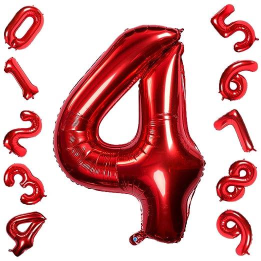 42 Pulgadas Grandes Globos Rojos Números 4, Jumbo Foil Helio Globos Digitales para Cumpleaños Fiesta de Aniversario de Boda Festival Decoraciones
