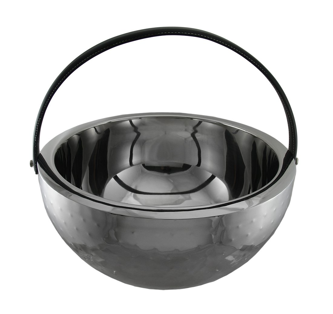 Beverage Bucket Stainless Steel Double Walled with Faux Leather Handle 17'' D X 9'' H
