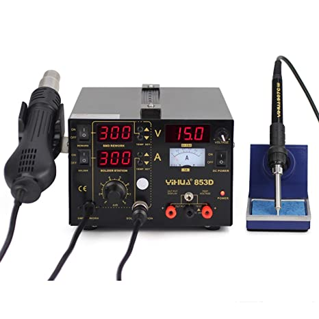 YIHUA 853d 3-en-1 estación de soldador y pistola de aire caliente y Fuente de alimentación alta precisión Intelligence Temperatura Control SMD Rework ...