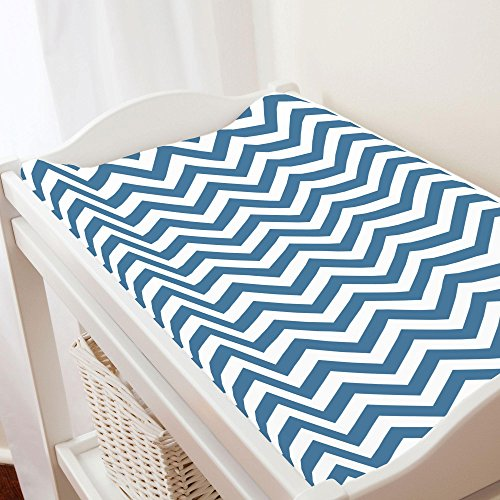 - Carousel Designs Denim Chevron Changing Pad Cover - Organic 100% Cotton Change Pad Cover - Made in the USA