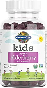 Garden of Life Kids Organic Elderberry with Vitamin C Gummies for Kids Immune Support, Sugar Free, Non-GMO Sambucas Elderberry Plus Vitamin C Gummy Vitamins for Children, 60 Vegetarian Gummies