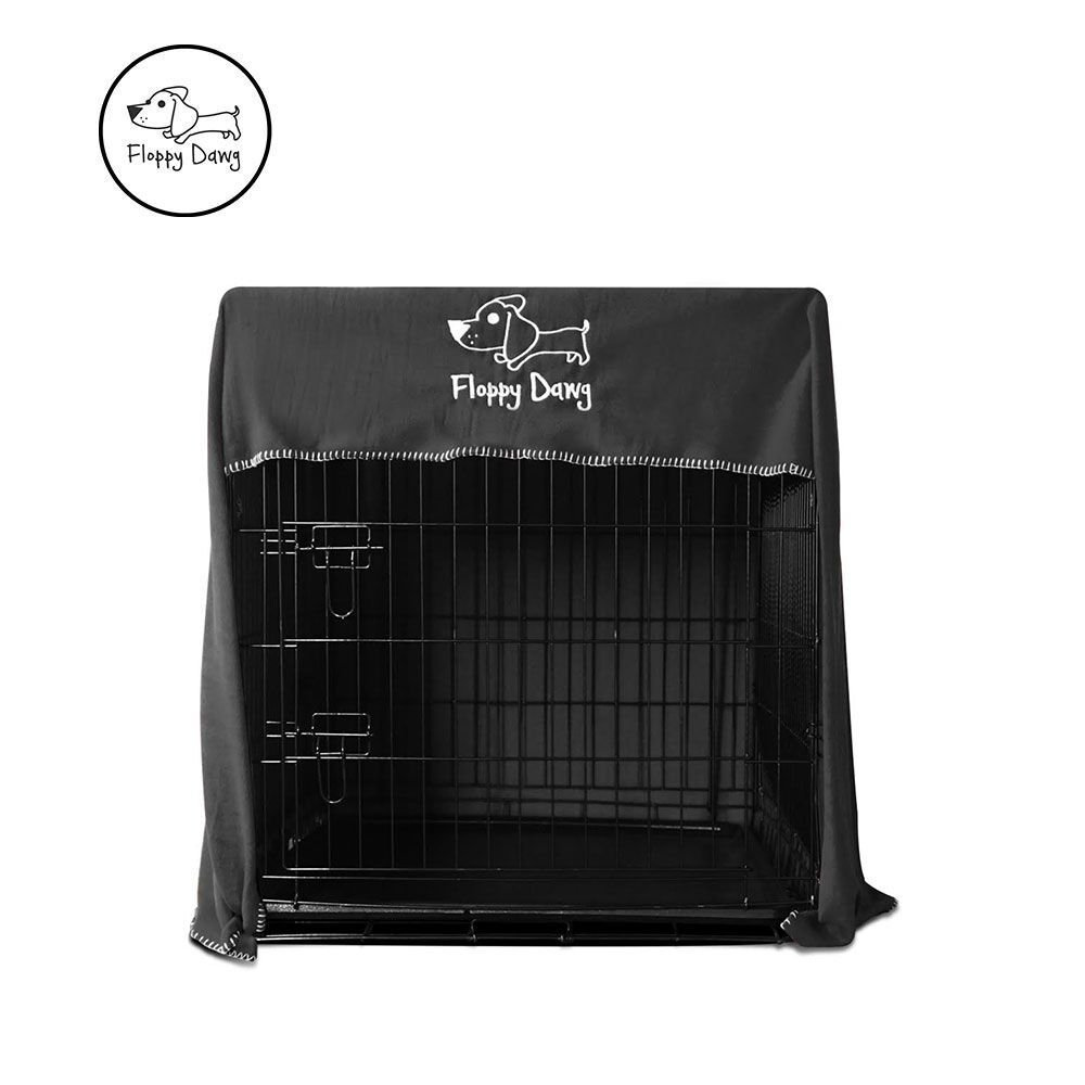 Floppy Dawg Crate Cover. Fits 36 Inch Dog Crates or Smaller. Easy to Put On, Take Off, and Adjust. Doubles as a Comfy Blanket. Slate Gray Lightweight and Breathable Polar Fleece.