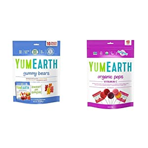 YumEarth Organic Gummy Bears, 10 Count & Organic Vitamin C Lollipops, 8.5 Ounce Bag ( Packaging May Vary )