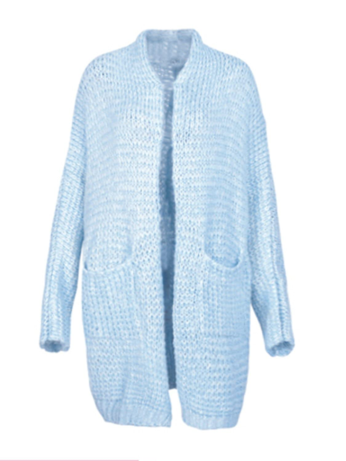 Glamaker Women's Fuzzy Open Front Cardigan Jacket Coat Loose Outwear with Pockets GAL01198