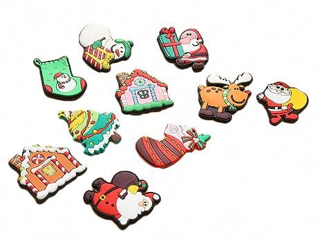 10 unidades de imanes de silicona para nevera con dibujos navideños, diseño de Papá Noel