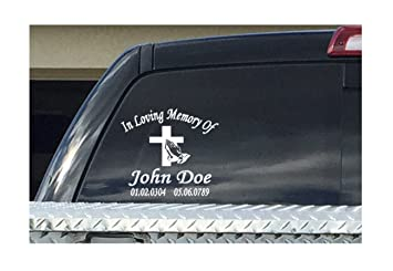 Amazoncom In Loving Memory Of Custom Personalize Decal Sticker - Cross custom vinyl decals for car windows
