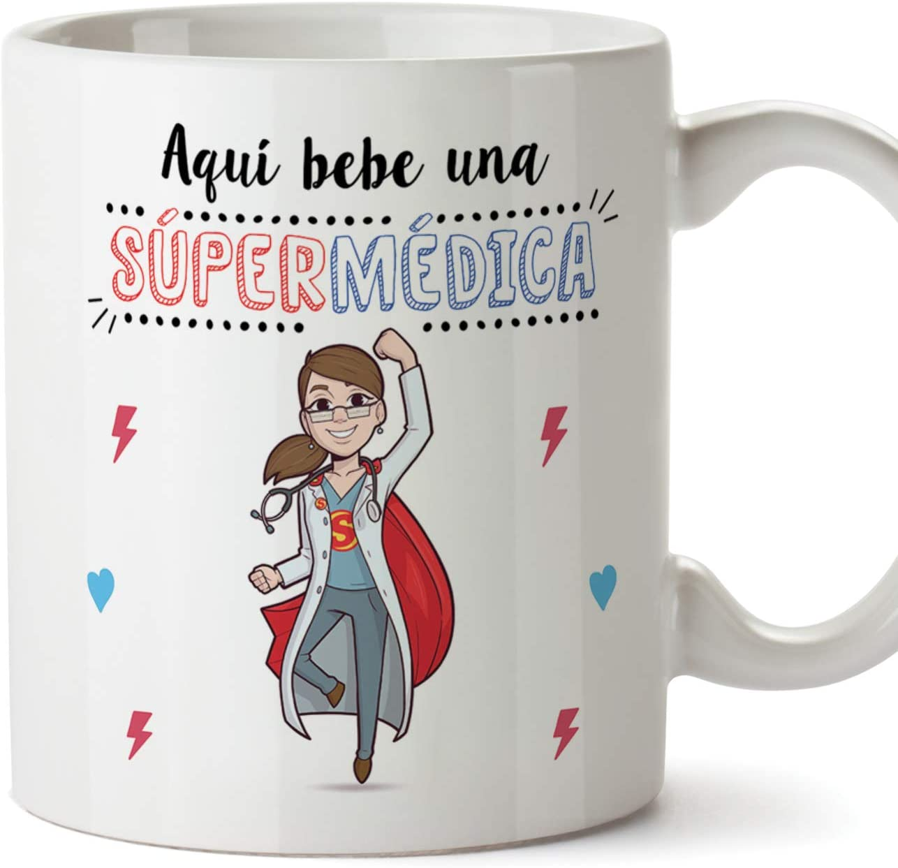 MUGFFINS Médica Tazas Originales de café y Desayuno para Regalar a Trabajadores Profesionales - AQUÍ Bebe UNA SÚPER MÉDICA - Cerámica 350 ml