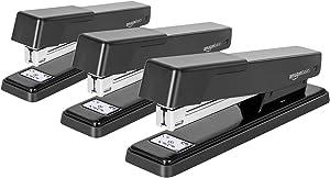 AmazonBasics Light Duty Metal Stapler, 20 Sheet Capacity - Black,3 pack