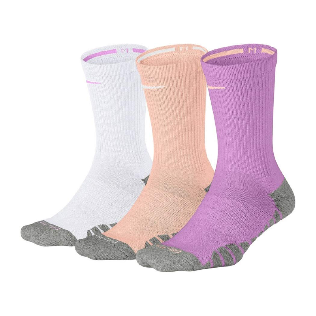 NIKE Women's 3-pk. Dri-Fit Cushioned Crew Socks (Fuschia) by Nike