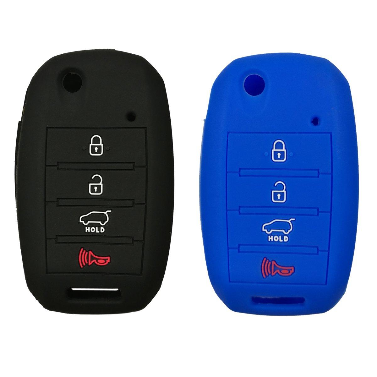 Coolbestda 2Pcs Silicone 4buttons Flip Folding Key Fob Remote Skin Cover Protector Keyless Entry Case for Kia Sorento Sportage Rio Soul Forte Optima Carens Black Blue