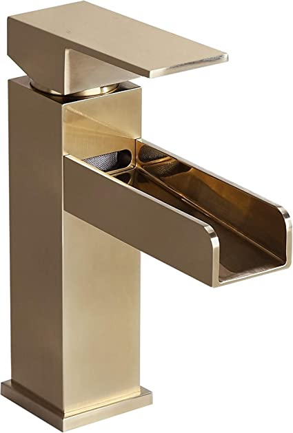 Homary Modern Brushed Gold Waterfall Spout Bathroom Vanity Sink Faucet Deck Mounted Single Lever Handle One Hole Sink Faucet Filler With Drain Assembly Solid Brass Cupc Certified Lead Free Touch On Faucets