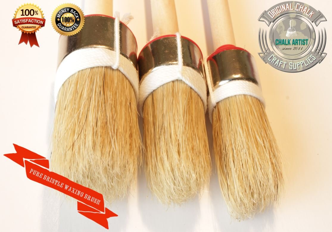 #HQ03 - SET OF 3 - CHALK PAINT & SOFT WAX waxing pure bristle SHABBY CHIC ROUND BRUSHES - 25mm ,35m , 45mm C2C Ltd