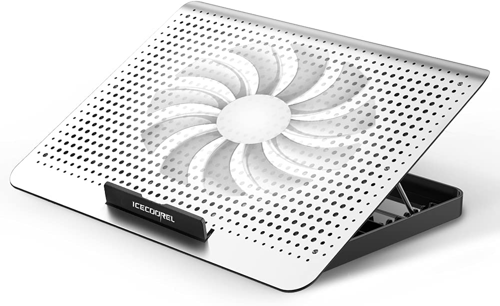 ICE COOREL Laptop Cooling Pad, Aluminum Laptop Cooler Stand with 7 Height Adjustable and One Big Quiet Fan, Cooling Fan for Laptop 15.6 14 13 Inch, Wind Speed Adjustable and Two USB Ports (Silver)