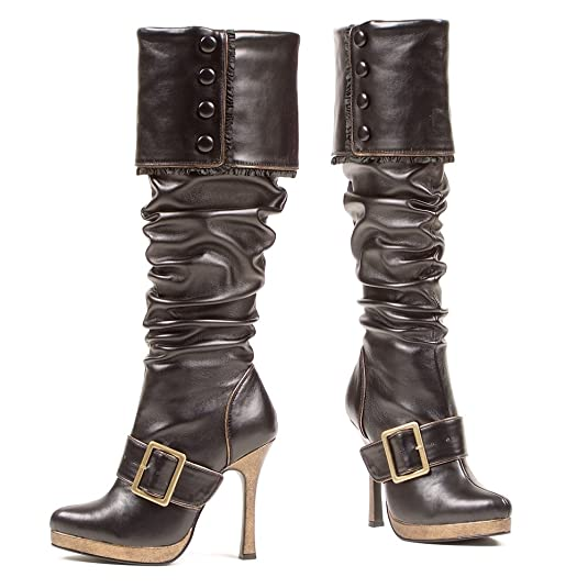 Women's Black 426-Grace Engineer Pirate Boots with Fold Down Studded Cuff and Black Arch Brass Buckle Trim - DeluxeAdultCostumes.com