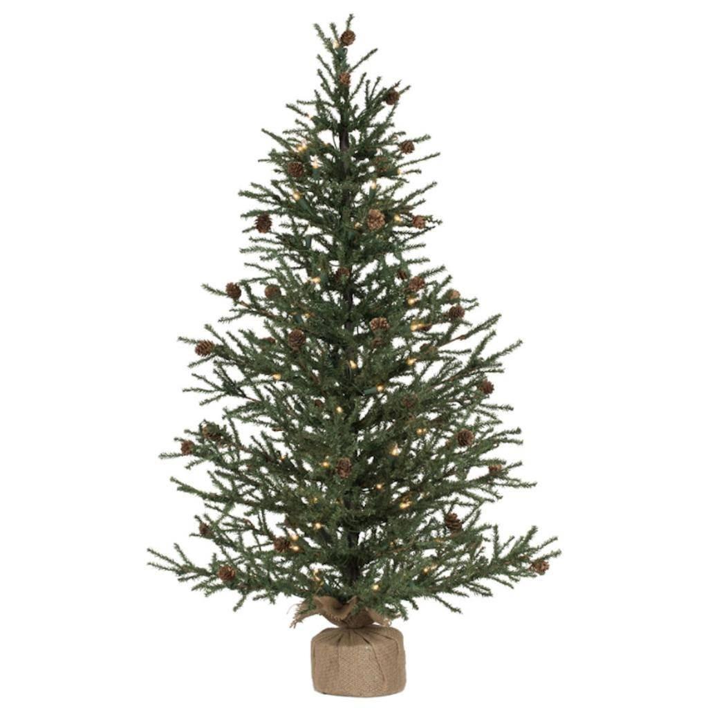 Vickerman 42'' Carmel Pine Artificial Christmas Tree -70 Clear Lights Burlap base