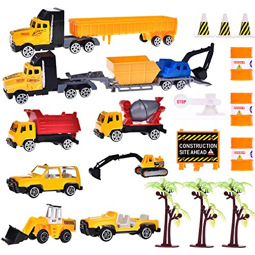 Construction Toys Sets, Engineering Vehicles 21 PCs, Bulldozers, Tank Truck, Asphalt Car and Excavator, Dump Truck Tractor Toy for Children Kids Boys and Girls, Beach Sand Toys, Cake Toppers