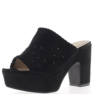 06a05507533 Black Thick Heels of 10.5 cm and Platform Aspect Suede Openwork Shoes - 8