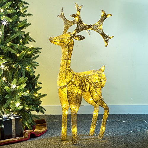 Glitzhome Christmas Grapevine Reindeer Led Sparkling Decor Studded Ornaments - Grapevine Reindeer