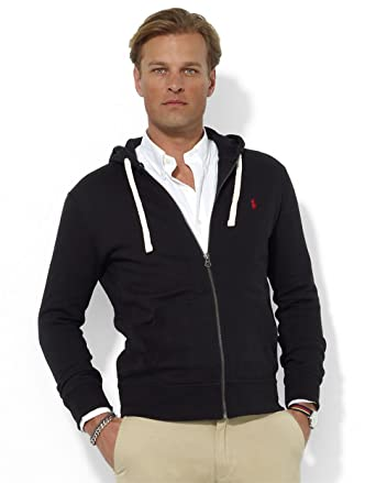 696a9db9d1df2a Polo Ralph Lauren Classic Full-Zip Fleece Hooded Sweatshirt - S - Black Red  Pony
