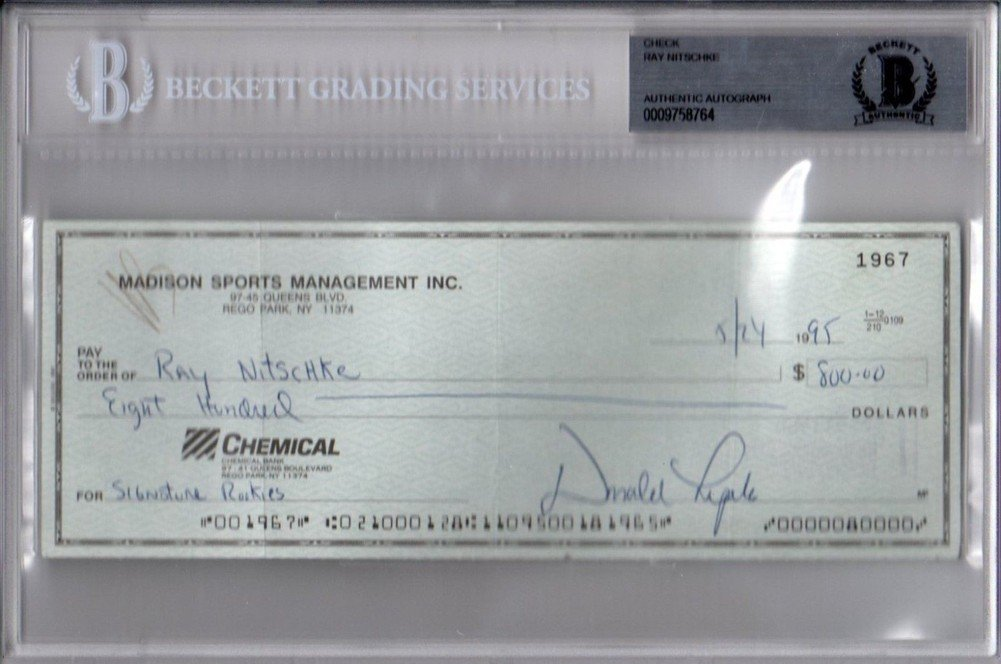 Beckett Bas Ray Nitschke Signed Autograph Signed Autograph 1995 Cashed Bank Check 0009758764