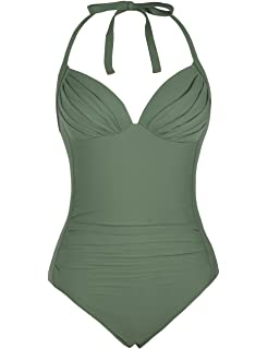 423e957e2656c Firpearl Women's One Piece Swimsuit Ruched Halter Bathing Suit Tummy  Control Swimwear