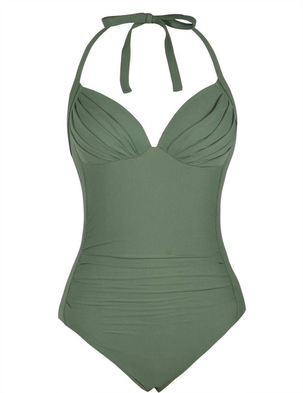 Firpearl Women's One Piece High Waisted Halter V Neck Plunge Ruched Swimsuit Army Green 12