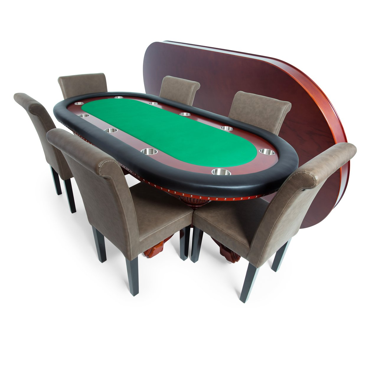 BBO Poker Rockwell Poker Table for 10 Players with Green Felt Playing Surface, 94 x 44-Inch Oval, Includes Matching Dining Top with 6 Lounge Chairs