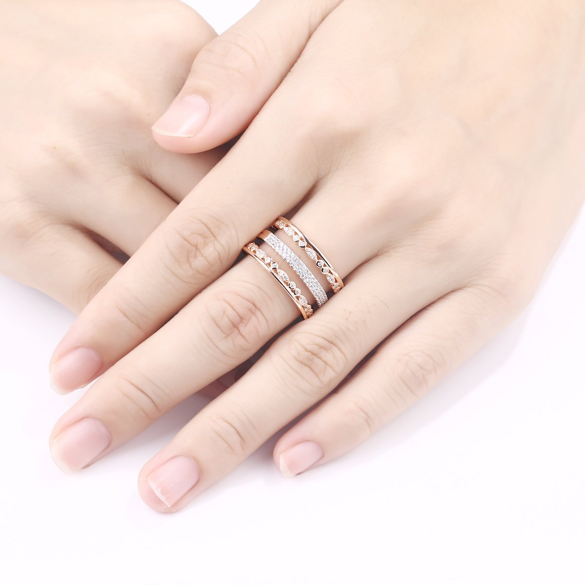Amazon.com: Newshe Wide Wedding Band For Women White Cz 925 Sterling ...