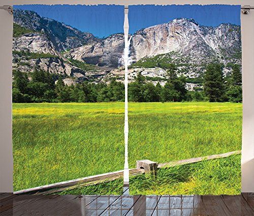 [Apartment Decor Curtains The Falls in Yosemite National Park California USA Countryside Landmark Picture Living Room Bedroom Decor 2 Panel Set Green Blue,Size:2 x 54