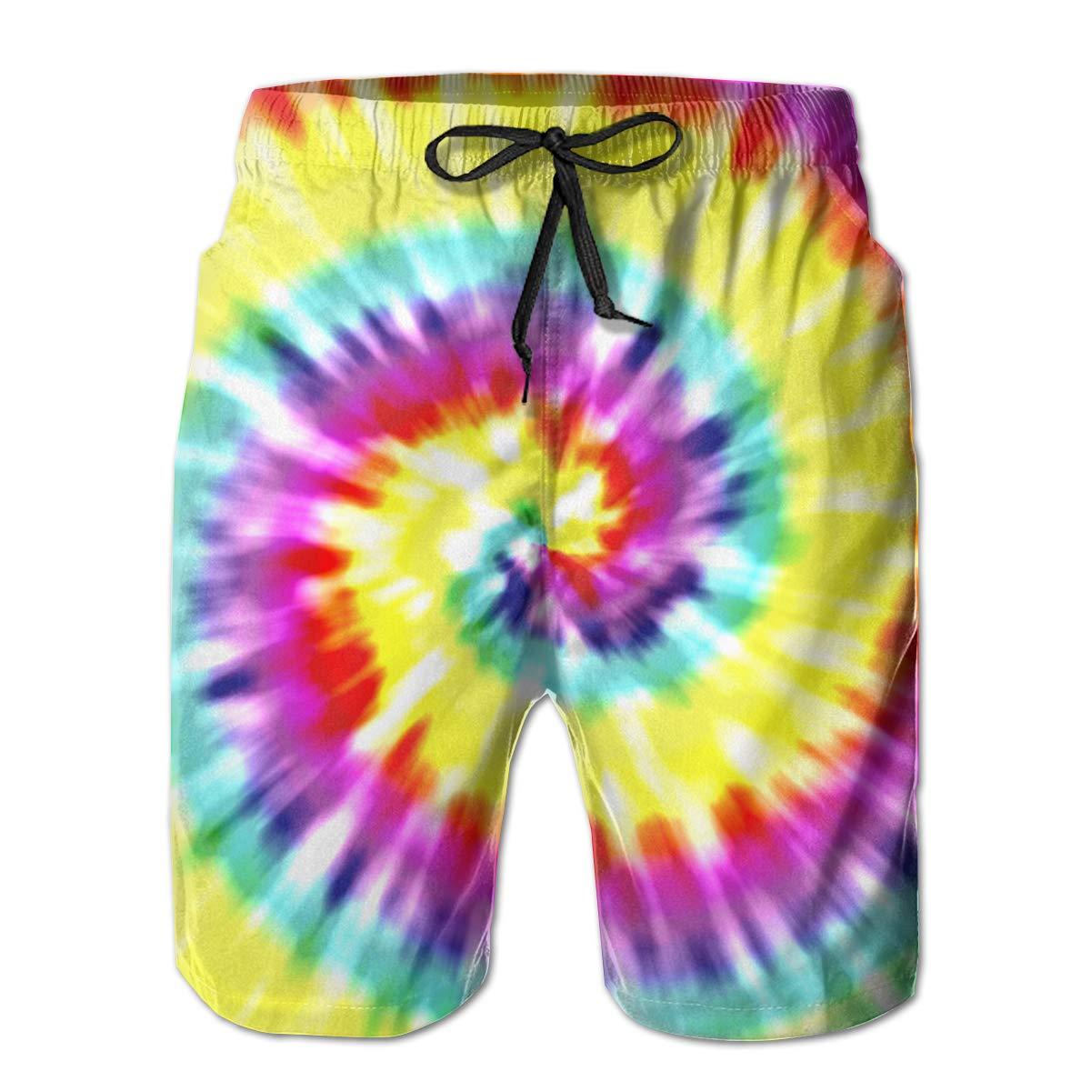 Mens Swim Trunks Unique Tye Dye Art Quick Dry Drawstring Surfing Beach Board Shorts with Pockets