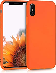 kwmobile TPU Case Compatible with Apple iPhone X - Case Soft Thin Slim Smooth Flexible Phone Cover - Neon Orange