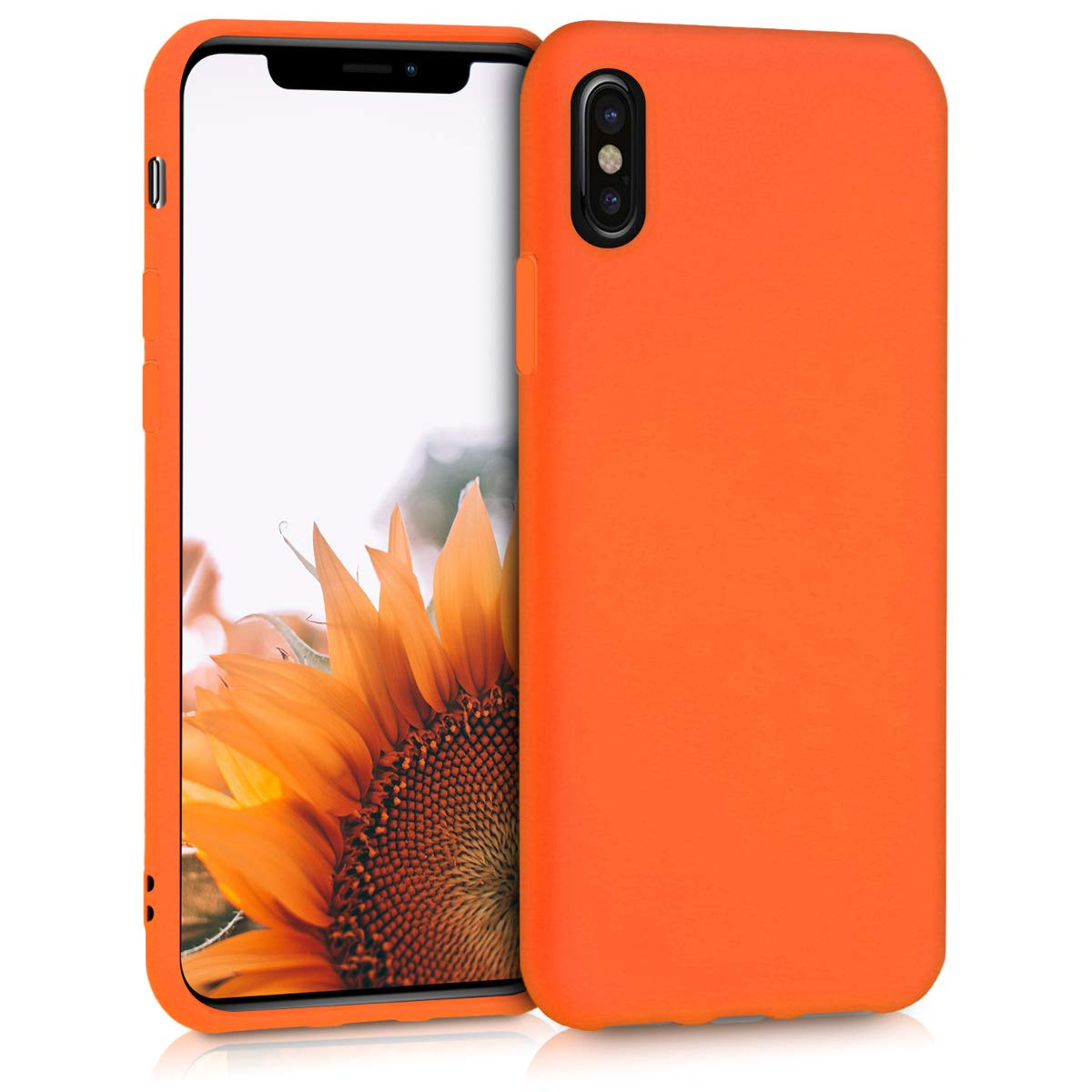 new products 4df85 9472e kwmobile TPU Silicone Case Compatible with Apple iPhone X - Soft Flexible  Protective Phone Cover - Neon Orange