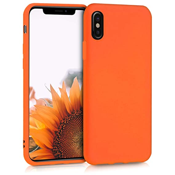 new products 4fad3 73c1f kwmobile TPU Silicone Case Compatible with Apple iPhone X - Soft Flexible  Protective Phone Cover - Neon Orange