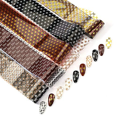 10 Rolls Nail Art Foil Luxury Transfer Stickers Design Nail Foil Decals 3-D Nail Art Stickers Decals Fashion Nail Foil Art Supplies Nail Accessories (Not Included Transfer Glue)