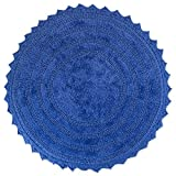 DII Ultra Soft Spa Cotton Crochet Round Bath Mat or Rug Place in Front of Shower, Vanity, Bath Tub, Sink, and Toilet, 28' - Blueberry
