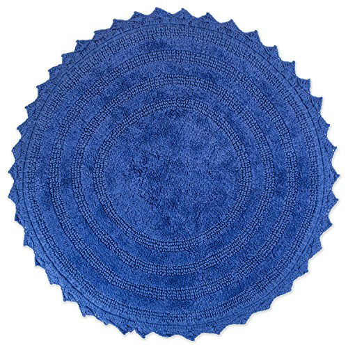 DII Ultra Soft Spa Cotton Crochet Round Bath Mat or Rug Place in Front of Shower, Vanity, Bath Tub, Sink, and Toilet, 28″ – Blueberry