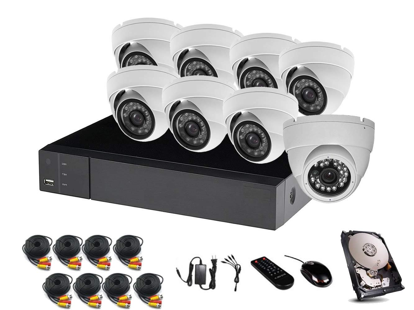 HDView 24CH Security Camera System, 16CH DVR and 8 CH NVR, with 1TB Hard Drive, 2.4MP 1080P HD Security Camera 4-in-1 TVI AHD CVI 960H DVR Kit, Night Vision Infrared IR Weatherproof Dome Camera Kit
