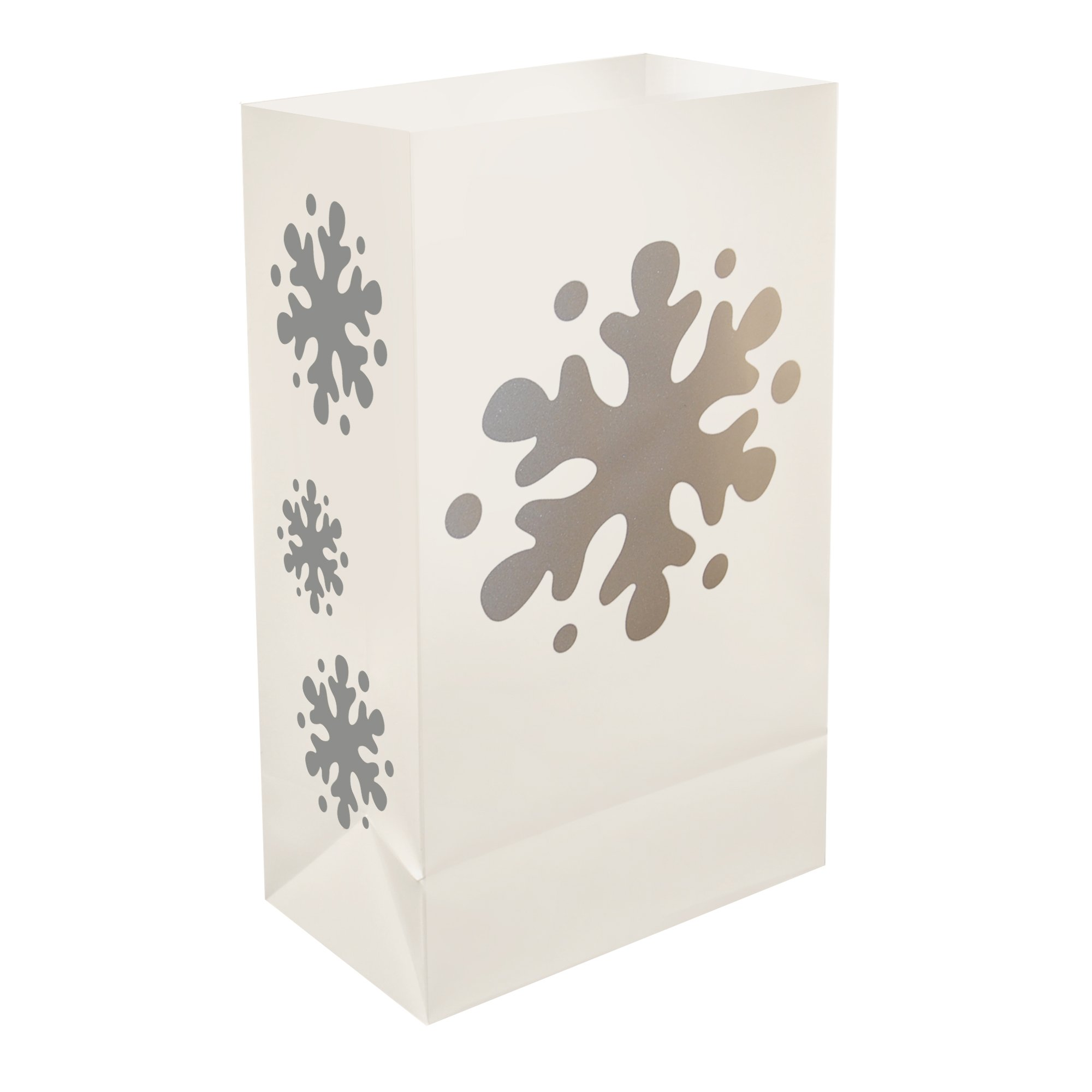 Lumabase 50412 12 Count Snowflake Plastic Luminaria Bags by Lumabase