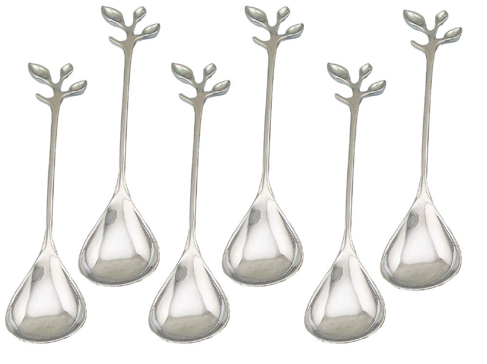 HENGRUI Creative Small Spoon Series of Handle Leaf-shaped Dessert Spoon,a Set of 6-pieces