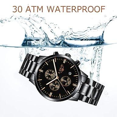Lige Men s Watch Fashion Waterproof Silica Gel Chronograph Luxury Business Analog Quartz Watches Classic Black Belt Date Calendar Watch
