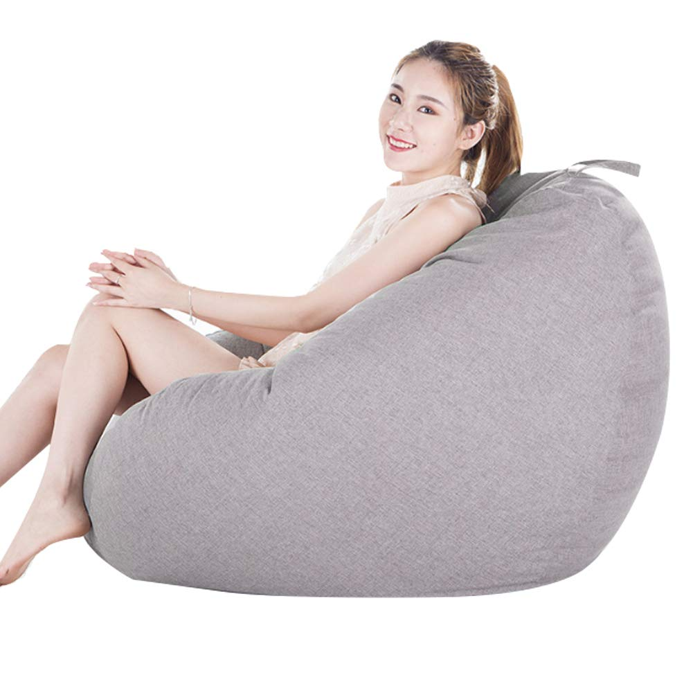 A0 Bean Bag Sofa Memory Foam and Large Recliner – Large Sofa, Large Lazy Sofa Fabric Hotel Single, 90  110Cm, Linen,A14