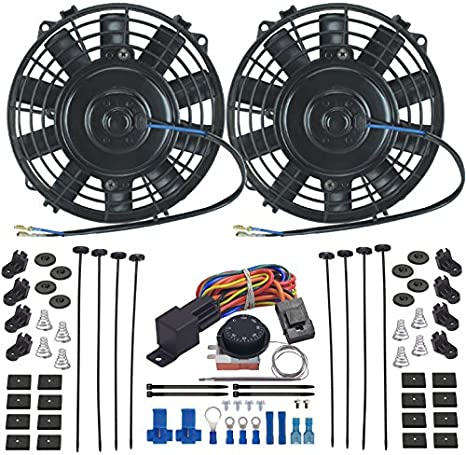 7 Inch American Volt Dual Reversible 12V Electric Engine Radiator Cooling Fan /& Adjustable Thermostat Switch Kit