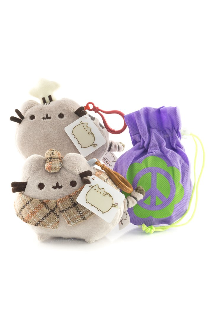 4.5 Plush Backpack Clips with Tote Gift Combo with Reusable Non-Woven Tote Bag Pusheen Detective and Chef Chef Backpack Clip and Detective Backpack Clip
