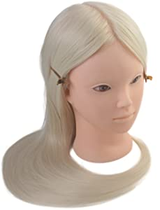 """24"""" Cosmetology Makeup Face Painting Mannequin Manikin Heads with Hair,Salon Styling Practice Braiding Doll Head- Synthetic Hair -Blonde Color"""