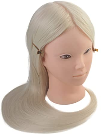 "24"" Cosmetology Makeup Face Painting Mannequin Manikin Heads with Hair  ,Salon Styling Practice Braiding"