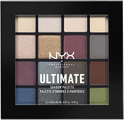 NYX Professional Makeup Paleta de sombra de ojos Ultimate Shadow Palette, Pigmentos compactos, 16 sombras, Acabados mate, satinados y metalizados, Tono: Smokey and Highlight: Amazon.es: Belleza