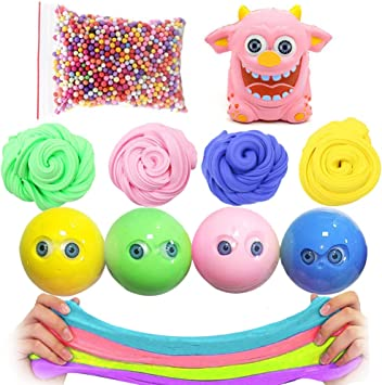 SWZY Eyeball Slime Toy Fluffy Slime Snowflake Slime Kit 4 Pack + 1 ...