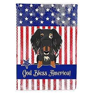 Caroline tesoros del bb3123gf patriótico EE. UU. Alambre Pelo Perro salchicha Dapple bandera Tamaño del jardín, pequeño, multicolor